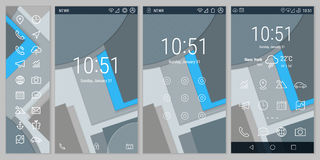 Materiële Stijl Gewaagde Lijn UI en UX-de schermen Stock Fotografie