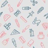 Materiałów narzędzi bezszwowego wzoru cienki kreskowy styl Obraz Stock