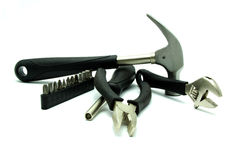 Materiały Budowlani i ręk narzędzia na Białym tle Obrazy Stock