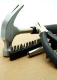 Materiały Budowlani i ręk narzędzia na Drewnianej desce Zdjęcia Stock