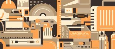 Materiały i narzędzia dla budować Obrazy Stock