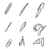 Materiały rysunkowe ikony ustawiają kreskówkę Obraz Royalty Free