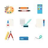 Materiały wytłacza wzory sieci app płaską wektorową ikonę: sztuki farby paleta Obrazy Stock