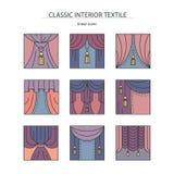 Materia-colección interior clásica de iconos lineares coloreados con Imagen de archivo libre de regalías