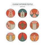Materia-colección interior clásica de iconos lineares coloreados con Imágenes de archivo libres de regalías