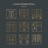 Materia-colección interior clásica de ingenio linear de los iconos de la pendiente Foto de archivo