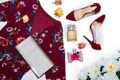 Materia de la moda de las mujeres en el top foto de archivo