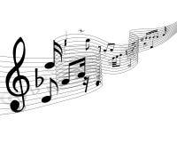 Materia de las notas musicales Foto de archivo