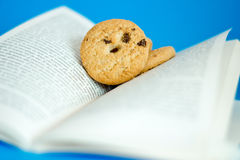 Materia en que pensar, galletas en un libro Foto de archivo libre de regalías