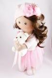 Materia textil de la muñeca de trapo hecha a mano con el pelo natural Imagenes de archivo