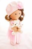 Materia textil de la muñeca de trapo hecha a mano con el pelo natural Fotos de archivo libres de regalías