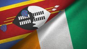 Materia textil de las banderas de Costa de Marfil dos de Eswatini Swazilandia y de Cote d ?Ivoire libre illustration