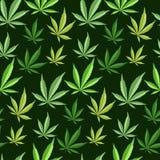 Materia textil narcótica de la marijuana del fondo del vector del ejemplo del modelo de la marijuana de la hierba inconsútil verd libre illustration