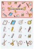 Materiały ikony doodle ilustracji