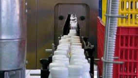 Materiaal bij de melkfabriek stock video