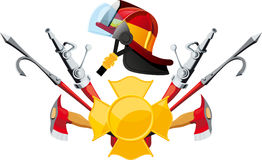 Materiaal en hulpmiddelenbrandweerman Stock Afbeelding