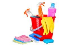Materiaal schoonmakende uitrusting in het huisclose-up royalty-vrije stock afbeeldingen