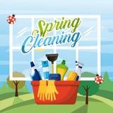 Materiaal van de de lente het schoonmakende emmer met venster en landschapsachtergrond stock illustratie