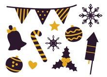 Materiaal voor de Vectorillustratie van de Kerstmispartij royalty-vrije illustratie