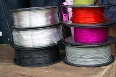 Materiaal voor gebruik in de 3D printer stock foto's