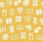 Materiais da decoração, construção, teste padrão sem emenda, lápis que choca, amarelo, vetor ilustração stock