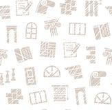 Materiais da decoração, construção, teste padrão sem emenda, lápis que choca, branco, vetor ilustração royalty free