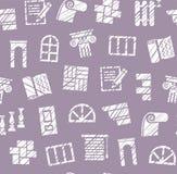 Materiais da decoração, construção, teste padrão sem emenda, lápis que choca, roxo, vetor ilustração do vetor