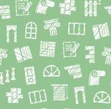 Materiais da decoração, construção, teste padrão sem emenda, lápis que choca, verde, vetor ilustração stock