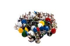Materiais de escritório coloridos dos pinos de desenho Foto de Stock Royalty Free