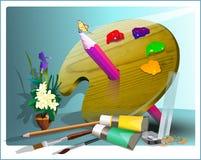 Materiais de pintura arranjados e projetados com paleta ilustração do vetor