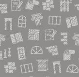 Materiais do revestimento, construção, teste padrão sem emenda, lápis que choca, cinza, cor, vetor ilustração royalty free