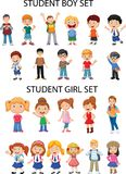 Materiais gerais - figuras da menina e do menino ilustração stock