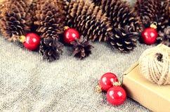 Materiais naturais para a decoração handcrafted do Natal (pinho e Imagens de Stock