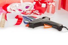 Materiais para presentes de empacotamento Imagem de Stock