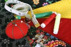 Materiais Sewing fotografia de stock