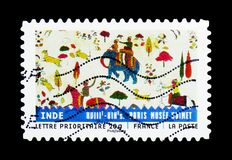 Material from all over the world - India, Art serie, circa 2011. MOSCOW, RUSSIA - MARCH 18, 2018: A stamp printed in France shows Material from all over the Royalty Free Stock Image