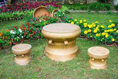 Material bronze drums on grass in vietnames Stock Photos