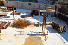 Material at a construction site for the base of a house Stock Photography