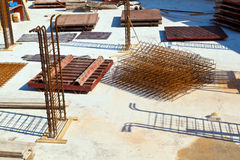 Material at a construction site for. The base of a new house Stock Photos