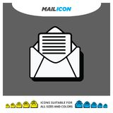 Material 3D Shadow Paper Icon of Mail Enveloppe with Document vector illustration