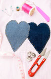 Material da costura no teste padrão da tela Fotos de Stock