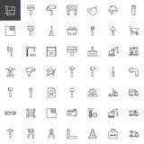 Material de construcción y línea iconos de las herramientas fijados