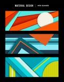 Material design abstract web banner set Stock Photos