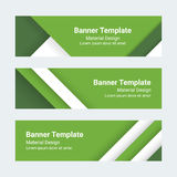 Material design banners. Set of modern colorful horizontal vector banners.. Green and white page headers. Can be used as a trendy business template or in a web Royalty Free Stock Photography
