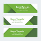 Material design banners. Set of modern colorful horizontal vector banners. Green ?and white vector page headers. Material design banners. Set of modern colorful Stock Photo