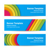 Material design banners. Set of modern horizontal vector banners, page headers. Material design banners. Set of modern colorful horizontal vector banners, page Stock Image