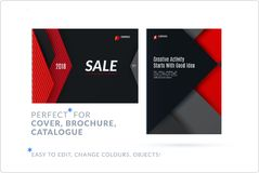Material design of brochure set, abstract annual report, horizontal cover layout, flyer. In A4 with red black vector colourful layers for promotion, branding royalty free illustration
