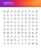 Material design communication and navigation icons set Stock Photography