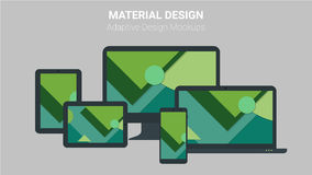 Material design concept of responsive and adaptive webdesign technology Stock Images