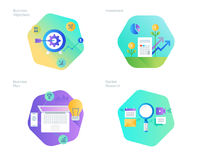 Material design icons set for business plan and objectives, market research, investment. UI/UX kit for web design, applications, mobile interface, infographics Stock Images